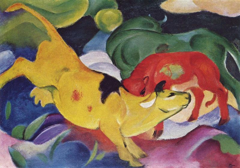 """Франц Марк - """"Жёлто-красно-зелёные коровы"""", 1912"""