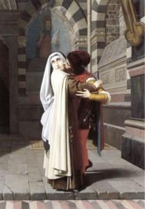 """Габриэль Кастаньола (1828-1883) - """"Обьятия Филиппо Липпи и Лукреции Бути"""""""