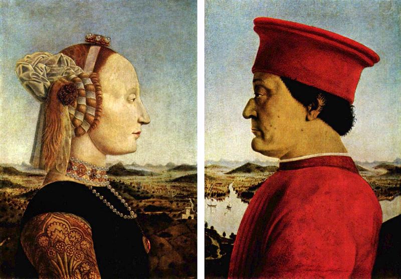 Пьеро делла Франческа - портрет герцога Федериго Монтефельтро и герцогини Баттисты Сфорца