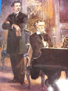 """Людвиг II и Рихард Вагнер"", открытка XIX века"