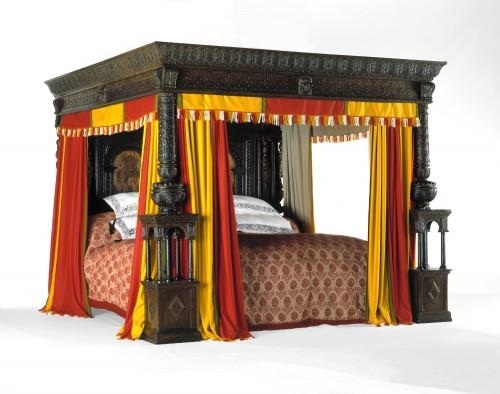 Большая кровать из Уэра. Англия, дуб, маркетри, 1590