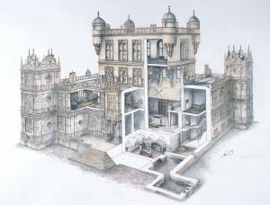 Уоллатон-холл в разрезе, арх. Роберт Смитсон, 1580-1588