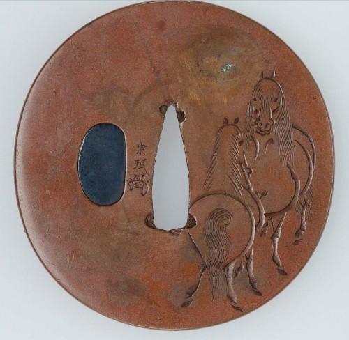 Ёкоя Сомин - цуба с конями, 1 треть XIX в.