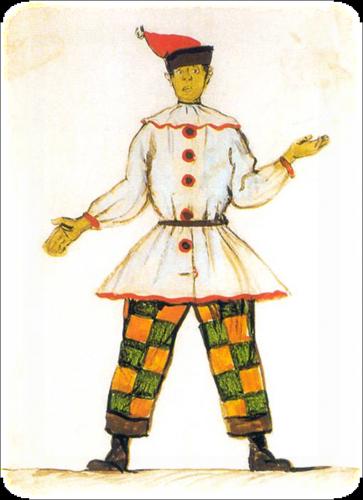 """Александр Бенуа - эскизы костюмов к балету """"Петрушка"""", 1911 год"""