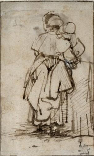 Рембрандт Харменс ван Рейн - набросок женщины с ребенком на руках