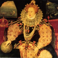 Джордж Говер - портрет Елизаветы I с Армадой (вариант, заказанный Френсисом Дрейком), 1588